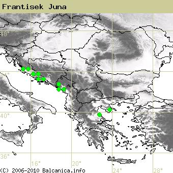 Frantisek Juna, obsazené kvadráty podle mapování Balcanica.info