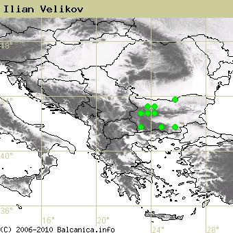 Ilian Velikov, obsazené kvadráty podle mapování Balcanica.info