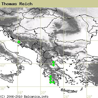 Thomas Reich, obsazené kvadráty podle mapování Balcanica.info