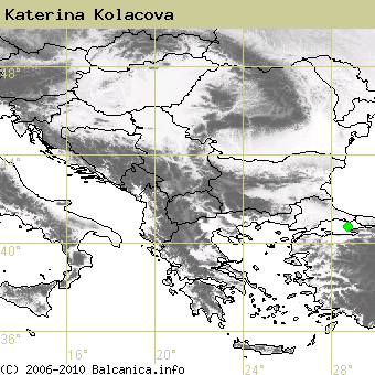 Katerina Kolacova, occupied quadrates according to mapping of Balcanica.info