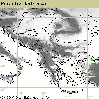 Katerina Kolacova, obsazené kvadráty podle mapování Balcanica.info