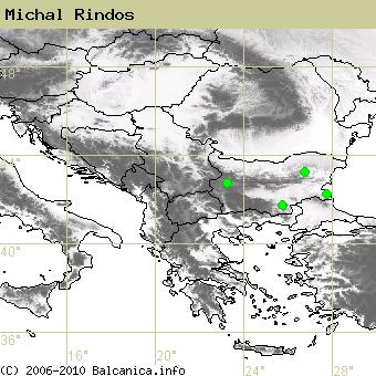 Michal Rindos, obsazené kvadráty podle mapování Balcanica.info
