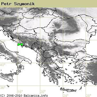 Petr Szymonik, occupied quadrates according to mapping of Balcanica.info