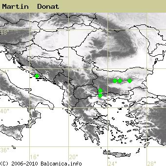 Martin  Donat, obsazené kvadráty podle mapování Balcanica.info