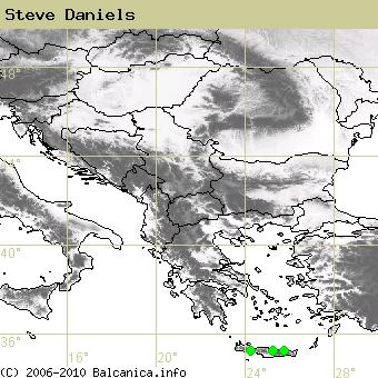 Steve Daniels, obsazené kvadráty podle mapování Balcanica.info