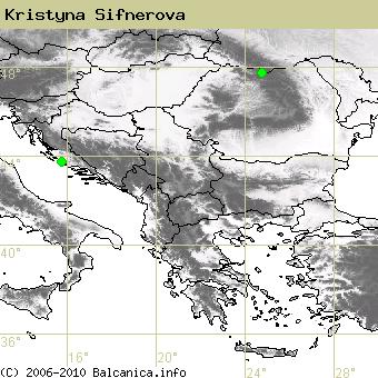 Kristyna Sifnerova, obsazené kvadráty podle mapování Balcanica.info
