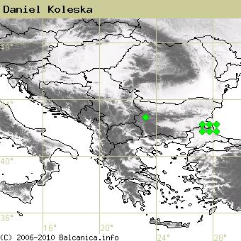 Daniel Koleska, obsazené kvadráty podle mapování Balcanica.info