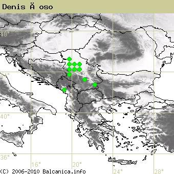 Denis Ćoso, obsazené kvadráty podle mapování Balcanica.info