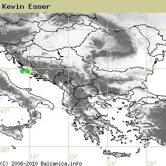 Kevin Esser, obsazené kvadráty podle mapování Balcanica.info