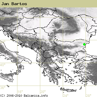 Jan Bartos, occupied quadrates according to mapping of Balcanica.info