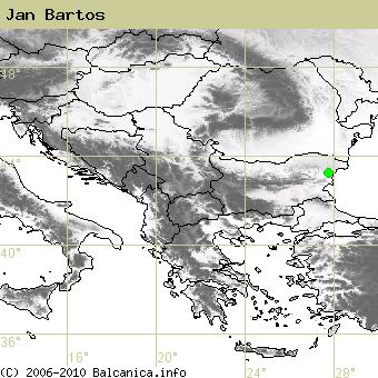 Jan Bartos, obsazené kvadráty podle mapování Balcanica.info