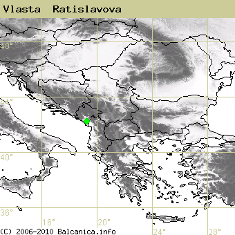 Vlasta  Ratislavova, occupied quadrates according to mapping of Balcanica.info