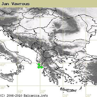 Jan Vavrous, obsazené kvadráty podle mapování Balcanica.info