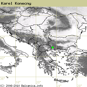 Karel Konecny, occupied quadrates according to mapping of Balcanica.info