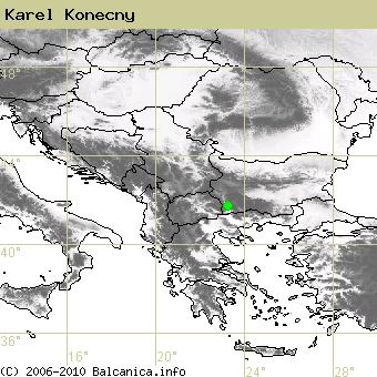 Karel Konecny, obsazené kvadráty podle mapování Balcanica.info