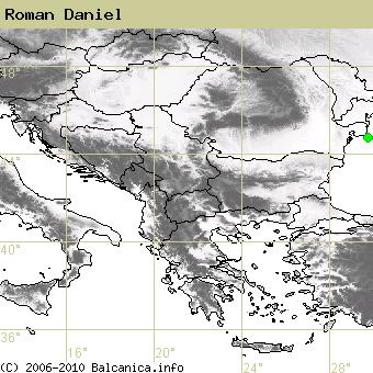 Roman Daniel, obsazené kvadráty podle mapování Balcanica.info