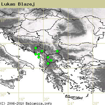 Lukas Blazej, occupied quadrates according to mapping of Balcanica.info