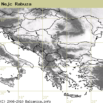 Nejc Rabuza, occupied quadrates according to mapping of Balcanica.info