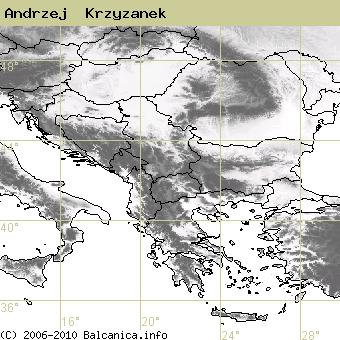 Andrzej  Krzyzanek, obsazené kvadráty podle mapování Balcanica.info