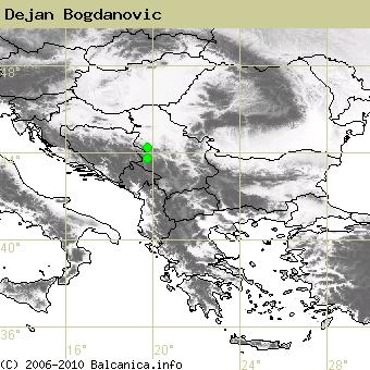 Dejan Bogdanovic, occupied quadrates according to mapping of Balcanica.info