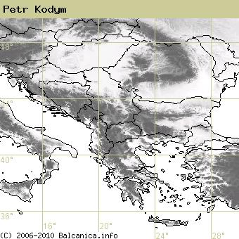 Petr Kodym, obsazené kvadráty podle mapování Balcanica.info