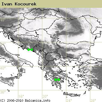 Ivan Kocourek, obsazené kvadráty podle mapování Balcanica.info