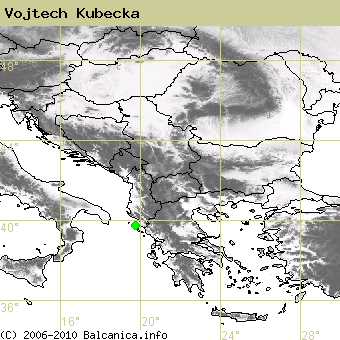 Vojtech Kubecka, occupied quadrates according to mapping of Balcanica.info