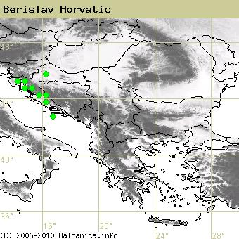 Berislav Horvatic, obsazené kvadráty podle mapování Balcanica.info