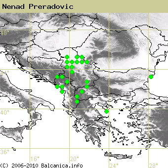 Nenad Preradovic, occupied quadrates according to mapping of Balcanica.info