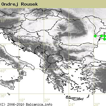 Ondrej Rousek, obsazené kvadráty podle mapování Balcanica.info