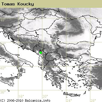 Tomas Koucky, obsazené kvadráty podle mapování Balcanica.info