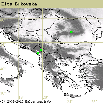 Zita Bukovska, occupied quadrates according to mapping of Balcanica.info