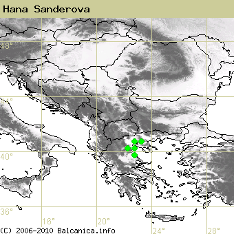 Hana Sanderova, occupied quadrates according to mapping of Balcanica.info