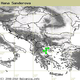 Hana Sanderova, obsazené kvadráty podle mapování Balcanica.info