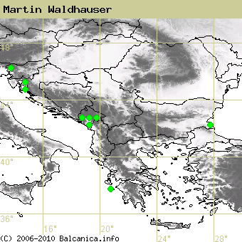 Martin Waldhauser, obsazené kvadráty podle mapování Balcanica.info