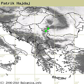 Patrik Hajdaj, obsazené kvadráty podle mapování Balcanica.info