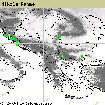 Nikola Rahme, obsazené kvadráty podle mapování Balcanica.info