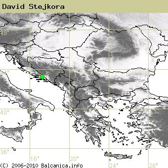 David Stejkora, obsazené kvadráty podle mapování Balcanica.info