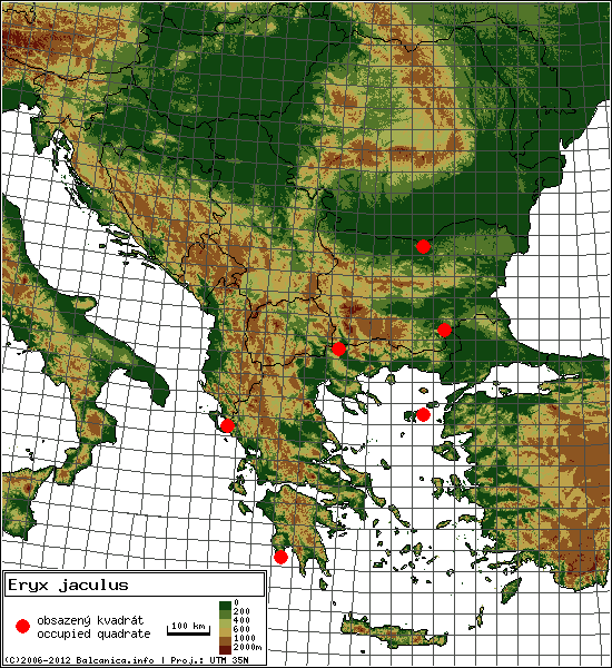 Eryx jaculus - Map of all occupied quadrates, UTM 50x50 km