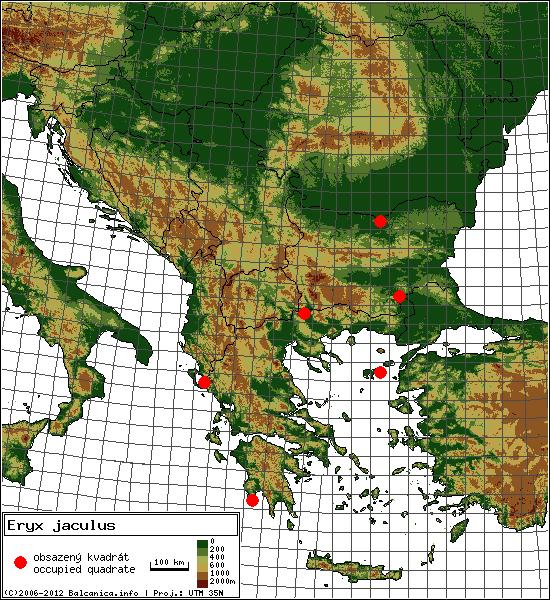 Eryx jaculus - mapa všech obsazených kvadrátů, UTM 50x50 km