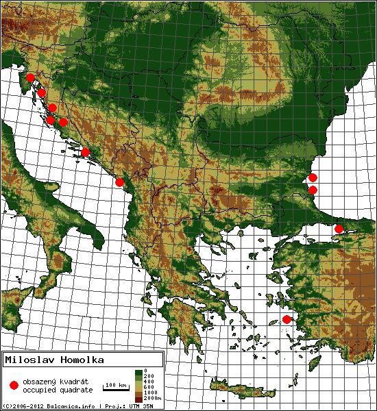 Miloslav Homolka - mapa všech obsazených kvadrátů, UTM 50x50 km