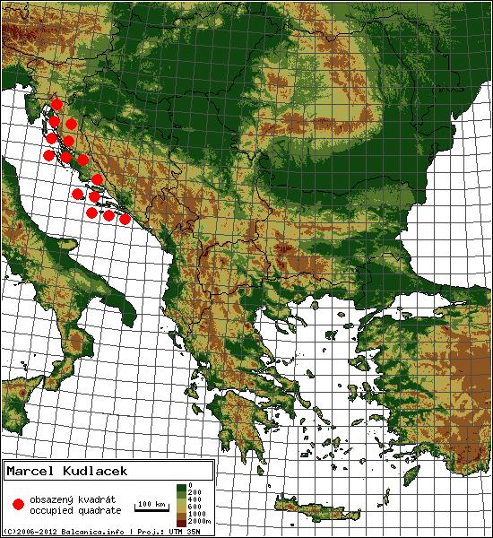 Marcel Kudlacek - Map of all occupied quadrates, UTM 50x50 km