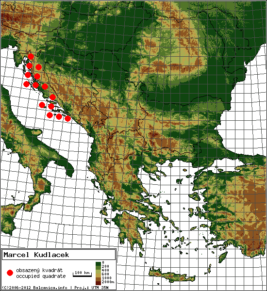 Marcel Kudlacek - mapa všech obsazených kvadrátů, UTM 50x50 km