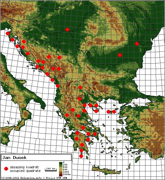 Jan Dusek - mapa všech obsazených kvadrátů, UTM 50x50 km