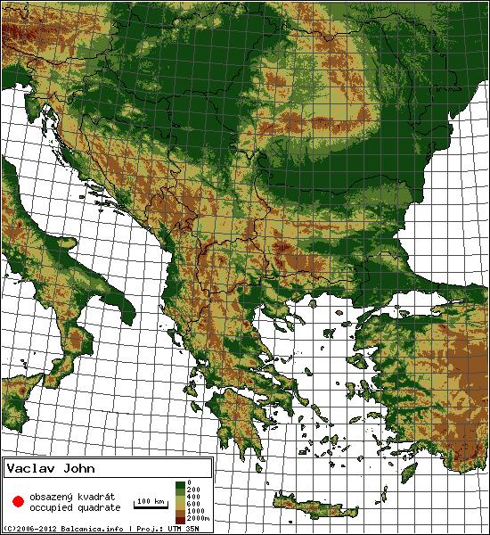 Vaclav John - mapa všech obsazených kvadrátů, UTM 50x50 km
