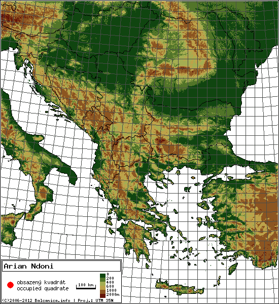 Arian Ndoni - mapa všech obsazených kvadrátů, UTM 50x50 km