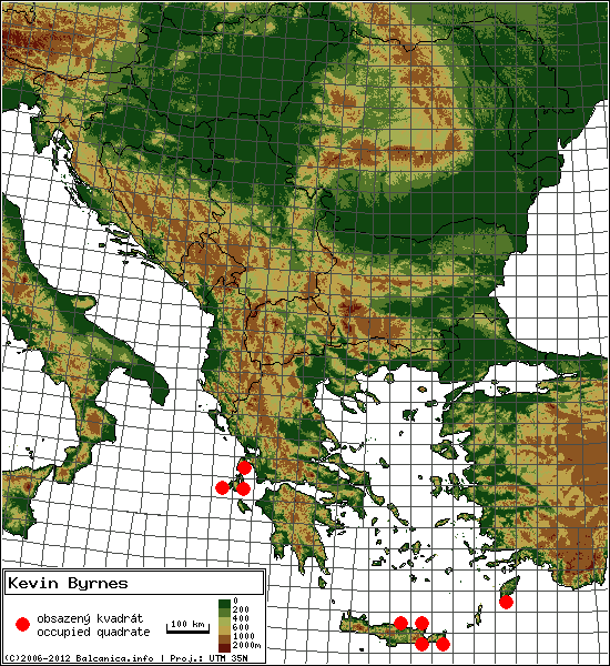 Kevin Byrnes - mapa všech obsazených kvadrátů, UTM 50x50 km