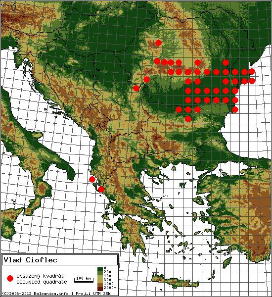 Vlad Cioflec - mapa všech obsazených kvadrátů, UTM 50x50 km