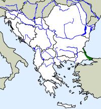 rozšíření štíhlovky Platyceps collaris na Balkáně (zeleně)
