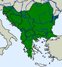 rozšíření užovky hladké na Balkáně (zeleně)